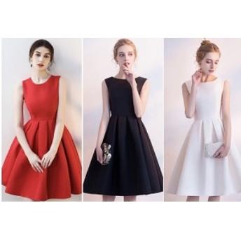 レディース Aライン ドレス ドレスコード イブニングドレス ゴージャス きれいめ ノースリーブ リボン ショート スカート 丸
