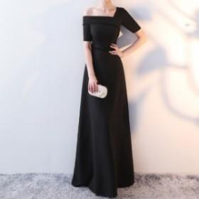 大人気 パーティードレス 結婚式 二次会 ワンピース パーティードレス 袖あり ロング ロング丈 結婚式 お呼ばれドレス 結婚式ドレス 黒
