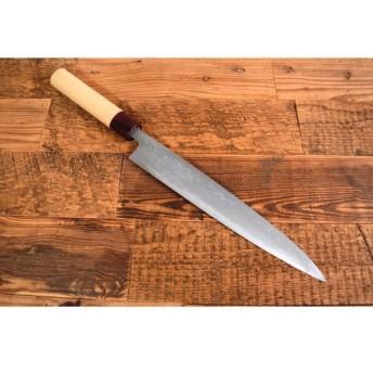 手造り鍛造 ダマスカス 多層鋼 筋引き 包丁 スライサー 白木丸柄