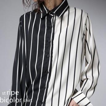 トップス シャツ ストライプ バイカラー ストライプシャツ・7月3日20時〜再販。「G」(50)メール便可