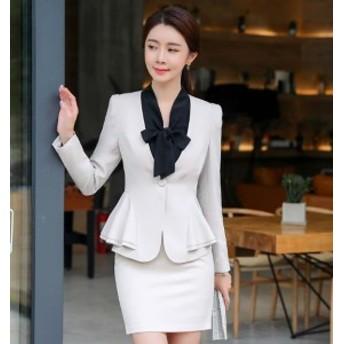 スーツ レディース リクルートスーツ スカートスーツ 女性 2点セット オフィス ビジネス フリル 大きいサイズ 通勤 就活 面接