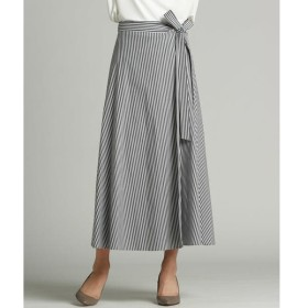 LAUTREAMONT / ロートレアモン 春らしいニュアンスカラーのストライプのラップフレアースカート