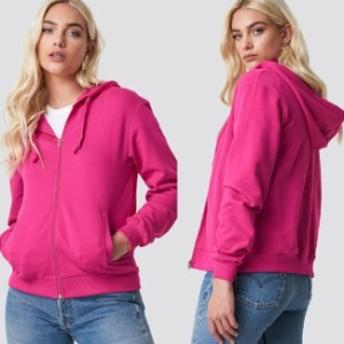 NA-KD ベーシックジップ パーカー チェリーピンク コート ポケット リブ付き 長袖 送料無料 レディース ファッション
