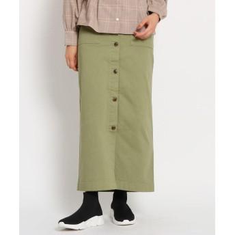 OZOC(オゾック) [洗える]フロント釦ナローマキシスカート