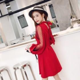 ホルターネックリボン☆シースルードット ランタンスリーブ キュートなドレス 4104