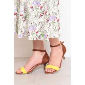 【公式/フリーズマート】アンクルストラップサンダル/女性/靴/ブラウン×イエロー/サイズ:S/