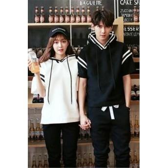 Tシャツ 男女兼用 メンズ Tシャツ レディース 半袖 ペアルック Tシャツパーカー 帽子付き ゆったり感 韓国ファッション 5