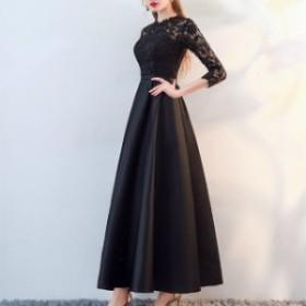 結婚式 パーティードレス 袖あり 膝丈 ロング 結婚式 レース お呼ばれ ドレス 20代 30代 40代 透け感 きれいめ フレア 切り替え
