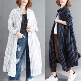レディース コート アウター ロング シャツ ストライプ 個性 ゆったり感 復古 トレンド 秋 新品 ファッション 901