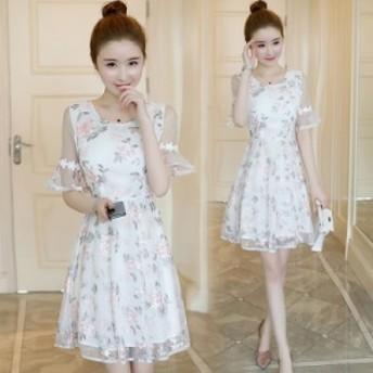 花柄刺繍 シースルー Aライン フレアワンピースドレス 3095