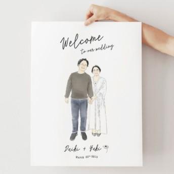 おとなのおしゃれ似顔絵ウェルカムボード │結婚式 結婚祝い