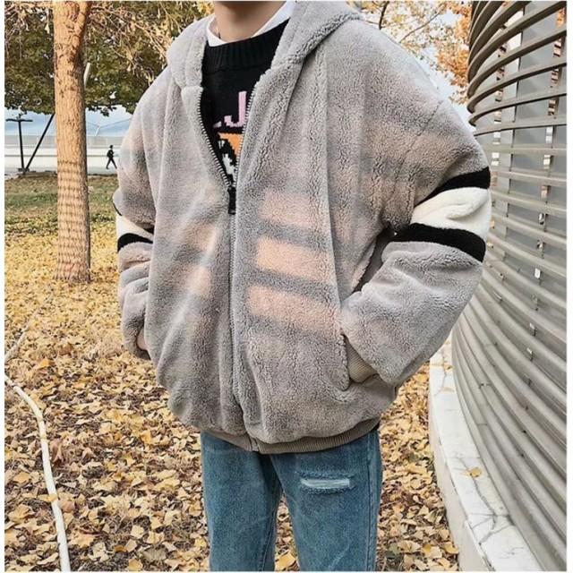 [55555SHOP] 追加 限定発売 品質保証 子羊の服 コート 暖かい 厚手 綿の服 緩い コットンコート メンズ ジャケット