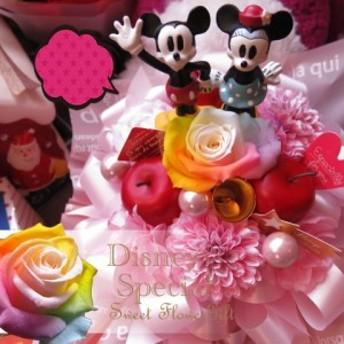 花 クリスマスプレゼント ディズニー フラワーギフト ラテ レインボーローズ プリザーブドフラワー入り ノーマル ミッキーマウス