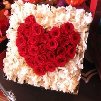 クリスマス プレゼント ハート プリザーブドフラワー 箱を開けるとサプライズ 箱一面お花がいっぱいの スマイル ハート フラワー