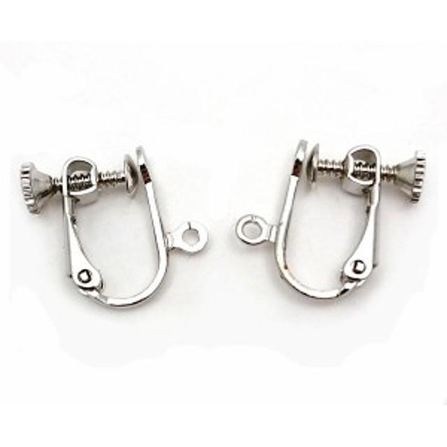 dc3664c729d97d イヤリングパーツ 1ペア 両耳用 ネジバネ式 カン付き ブラパーツ オリジナルイヤリング制作