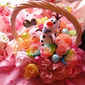オラフ 花 フラワーギフト プリザーブドフラワー カラフル レインボーローズ入り キャンディーカラー プリザーブドフラワー