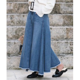 アンドジェイ サイドドレープフレア9.5ozデニムスカート レディース ブルー M 【ANDJ】