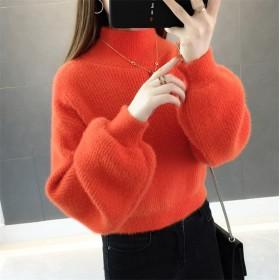 個性的なデザイン 韓国ファッション 新しい小さい新鮮なセーター 女性2019新品 ゆったりする 冬 学生 短いスタイルランタンスリーブ セーター