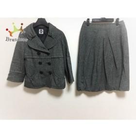 ヒロコビス HIROKO BIS スカートスーツ サイズ11 M レディース グレー×黒 ツイード     スペシャル特価 20190719