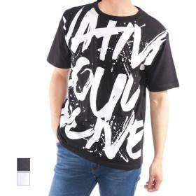 Tシャツ - Style Block MEN Tシャツ カットソー 半袖 クルーネック 丸首 ビッグTシャツ ビッグシルエット オーバーサイズ ロゴ 綿 コットン100% トップスメンズ ブラック ホワイト 春先行