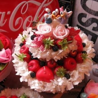 ドナルド デージー入り ディズニー 花 フラワーケーキ フラワーギフト プリザーブドフラワー 7号ケーキ ノーマル ドナルド デ