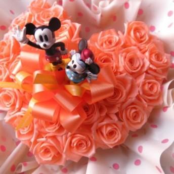 ミッキー ミニー入り 花 ハート フラワーギフト ハート プリザーブドフラワー オレンジ