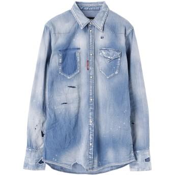 DSQUARED2 Stretch denim Classic Western Shirt カジュアルシャツ,ブルー