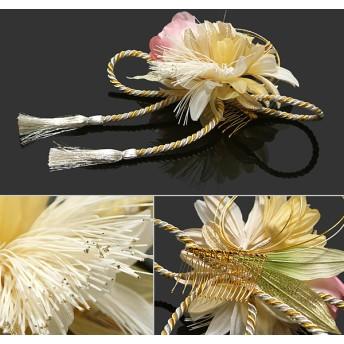 ヘアアクセサリー全般 - KIMONOMACHI お花髪飾り「白色×ゴールド お花と組紐飾り」振袖 成人式 前撮り 結婚式
