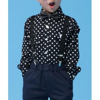 【30%OFF】 コーエン ドットカッタウェイシャツ(100~150cm) レディース BLACK 150 【coen】 【セール開催中】