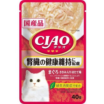 いなば チャオ パウチ  腎臓の健康維持に配慮 まぐろ ささみ入り ほたて味 40g IC-321  1ケース96個セット