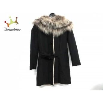 フェンディ FENDI コート サイズ40 M レディース 黒×ベージュ シルク×ファー/冬物 値下げ 20190217