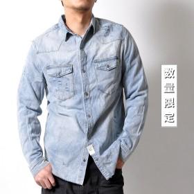 シャツ - RAiseNsE ユーズド加工 デニムシャツ メンズ トップス ダメージ加工 ウォッシュ加工 レディース ダンガリー[3色]#TS979