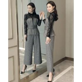 パンツスーツ パンツドレス スーツ 美脚 ドレス フォーマルドレス 3点セット セットアップ ビジネス リクルート オフィス