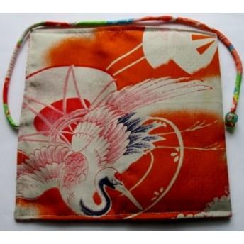 送料無料 鶴の柄の着物で作った和風財布・ポーチ 4073