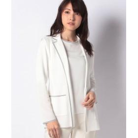 【30%OFF】 マダム ジョコンダ テーラー衿 ニットジャケット レディース ホワイト 40 【MADAM JOCONDE】 【セール開催中】
