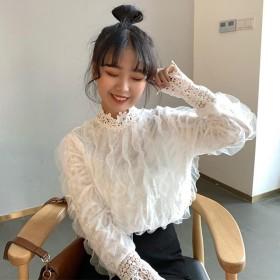 【送料無料】レース クルーネック 長袖 フラワーメッシュプルオーバーブラウス 白 黒 ホワイト ブラック フラワー メッシュ 韓国ファッション