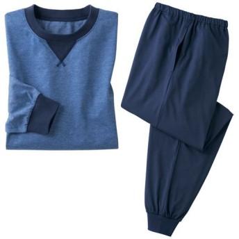 【レディース】 綿100%吸汗・速乾Tタイプパジャマ(長袖)(男女兼用) ■カラー:ネイビー系 ■サイズ:5L,3L,LL,M,L,S
