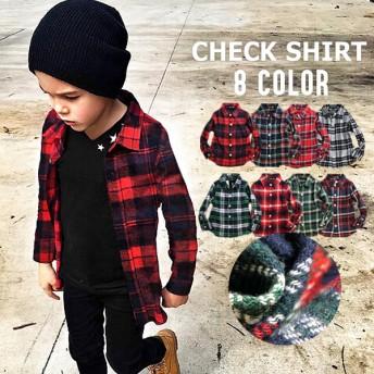 韓国子供服 キッズ 長袖シャツ 8カラー フランネル チェックシャツ ネルシャツ 子供服 男の子 女の子 ジュニア こども服