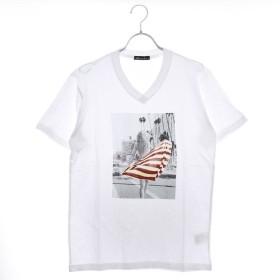 スタイルブロック STYLEBLOCK ガールフォトプリントVネック半袖Tシャツ (ホワイト)