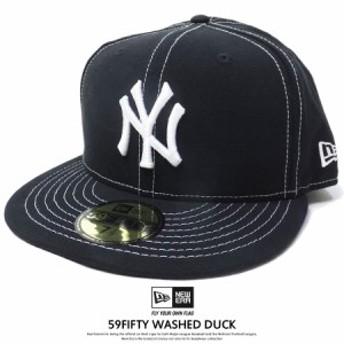 ニューエラ キャップ 帽子 NEW ERA 59FIFTY ウォッシュドダック ニューヨーク・ヤンキース ブラック×ホワイト