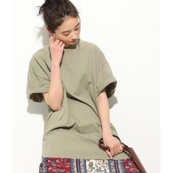 ビス/【WEB限定】半袖スリット入りTシャツ/カーキ/F