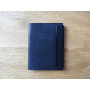 イタリアンレザーの手帳カバー/A5サイズ/ネイビー