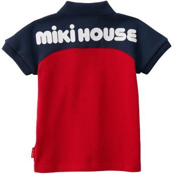 ミキハウス バックロゴプリント半袖ポロシャツ 赤×紺