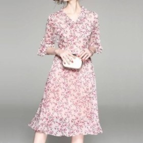 パーティーワンピース 花柄 フリル?ネック リボンベルト 七分袖 膝丈 Aライン ドレス フレア ピンク 大人可愛い フェミニン