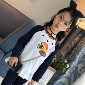 韓国子供服 Tシャツ ゆったり 女の子 キッズ 子ども 新作 長袖 春秋 スウィート 着心地良い 110 -160cm