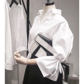 シフォン ロングシャツ 白シャツ ホワイト 長袖シャツ 半袖ブラウス 無地 シャツワンピース 白 レディース 大きいサイズシャツ