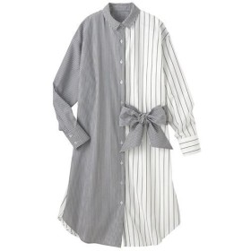 30%OFF【レディース】 ピッチ違いストライプ切替えシャツチュニック - セシール ■カラー:A ■サイズ:M,L