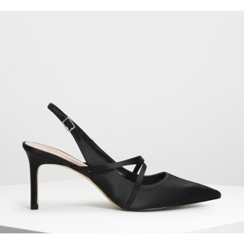 クリスクロスデティール スリングバックヒール / Criss Cross Detail Slingback Heels (Black)