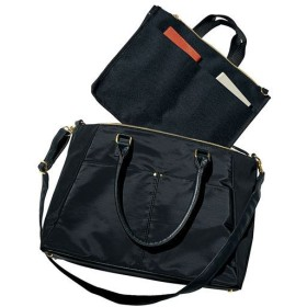 【レディース】 通勤多機能バッグ(ショルダーベルト・インナーバッグ付き・A4対応) - セシール ■カラー:ブラック