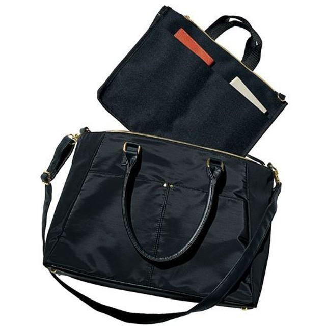 通勤多機能バッグ(ショルダーベルト・インナーバッグ付き・A4対応) - セシール ■カラー:ブラック